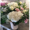 cesta flores hortensia blanca rosa
