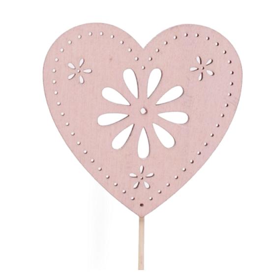 Pick de madera de corazón rosa