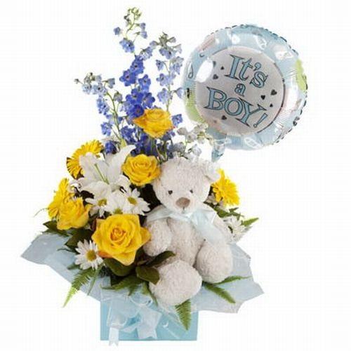 Rosas amarillas con peluche y globo