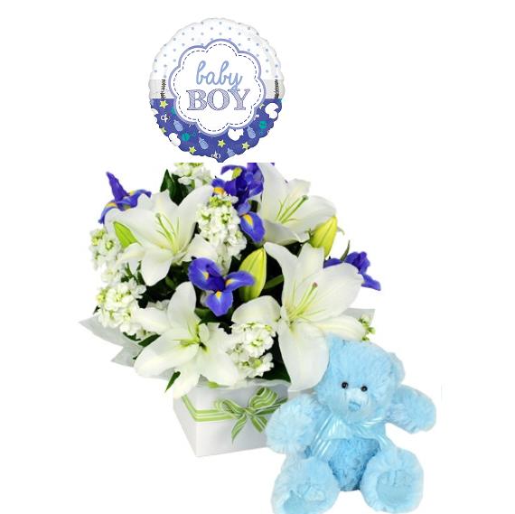 base con flores peluche y globo