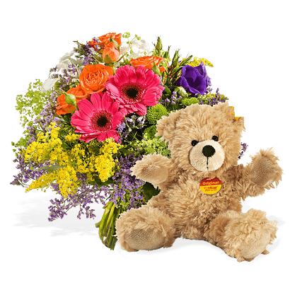 Ramo de flores con oso marrón
