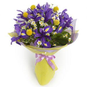 Bouquet de iris y craspedias