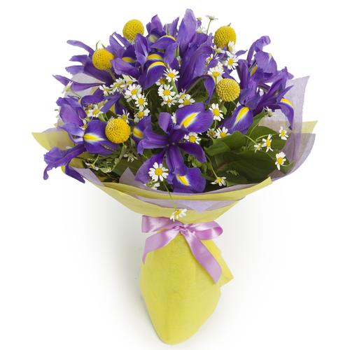 Bouquet de iris y craspedias amarillas y azules