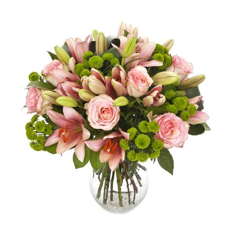 Ramo de rosas liliums y margaritas