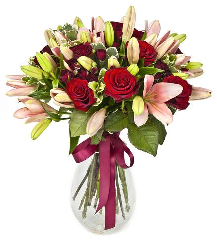 Bouquet de rosas y liliums