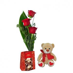 3 Rosas, bombones y peluche