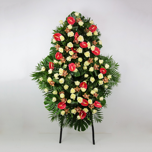 corona flores funeraria rosas