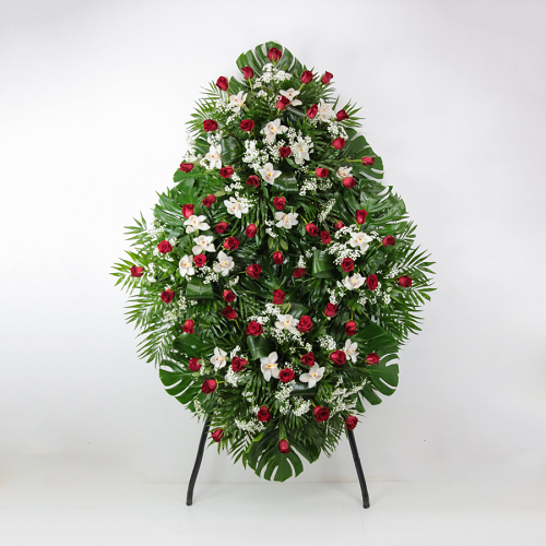 corona funeraria flores rosas rojas