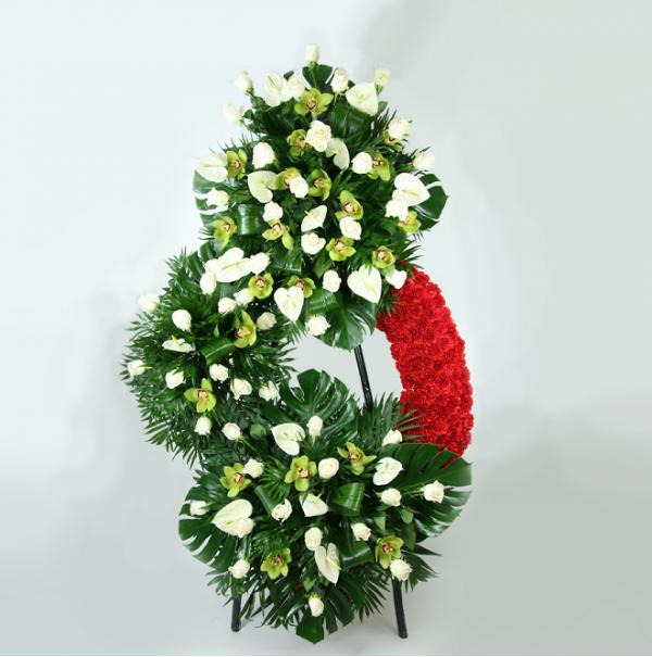 corona funerraria rosas anturiums orquideas