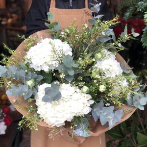 Hortensias blancas con flores blancas
